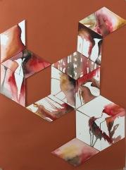 Rhombus drip paintings on orange