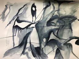 Layered drip painting