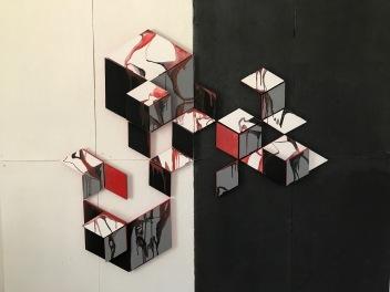 Wood rhombus drip paintings on BW