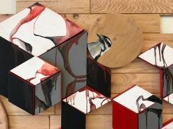 Detail of wood flooring installation, downy woodpecker