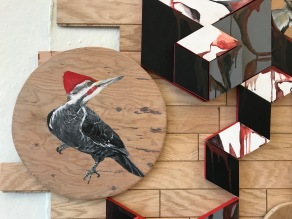 Detail of wood flooring installation, pileated woodpecker