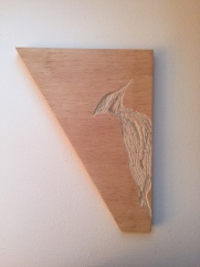 Scrap wood - carved woodpecker - no stain