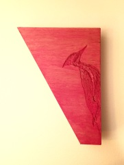 Scrap wood - carved woodpecker - watered down acrylic over polyurethane